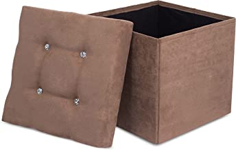 Internet's Best Folding Storage Ottoman with Bling, Upholstered, Suede, Strong and Sturdy, Quick and Easy Assembly, Foot Stool, Brown