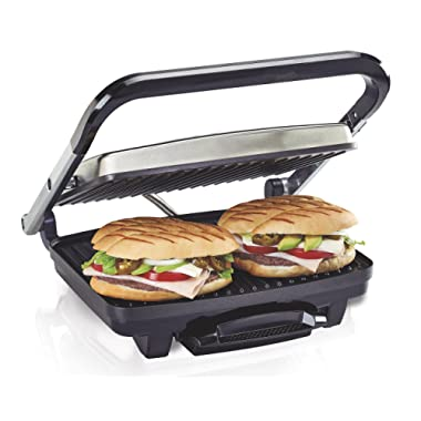 Hamilton Beach Panini Press, Sandwich Maker & Electric Indoor Grill, Upright Storage, Nonstick Easy Clean Grids, Stainless Steel (25410)