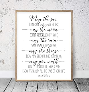 Arvier May The Sun Bring You New Energy by Day Apache Blessing Bible Verse Printable Wall Art Christian Gifts Nursery Bible Quotes Scripture Framed Wall Art