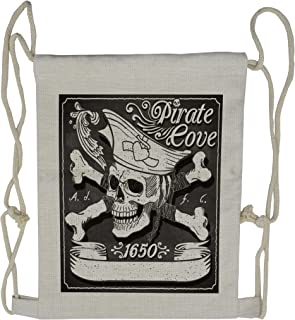 Lunarable Pirate Drawstring Backpack, Cove Flag Year of 1650, Sackpack Bag, Black and White