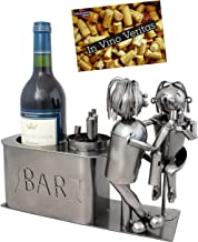 BRUBAKER Wine Bottle Holder 'Couple in Bar' - Table Top Metal Sculpture - with Greeting Card
