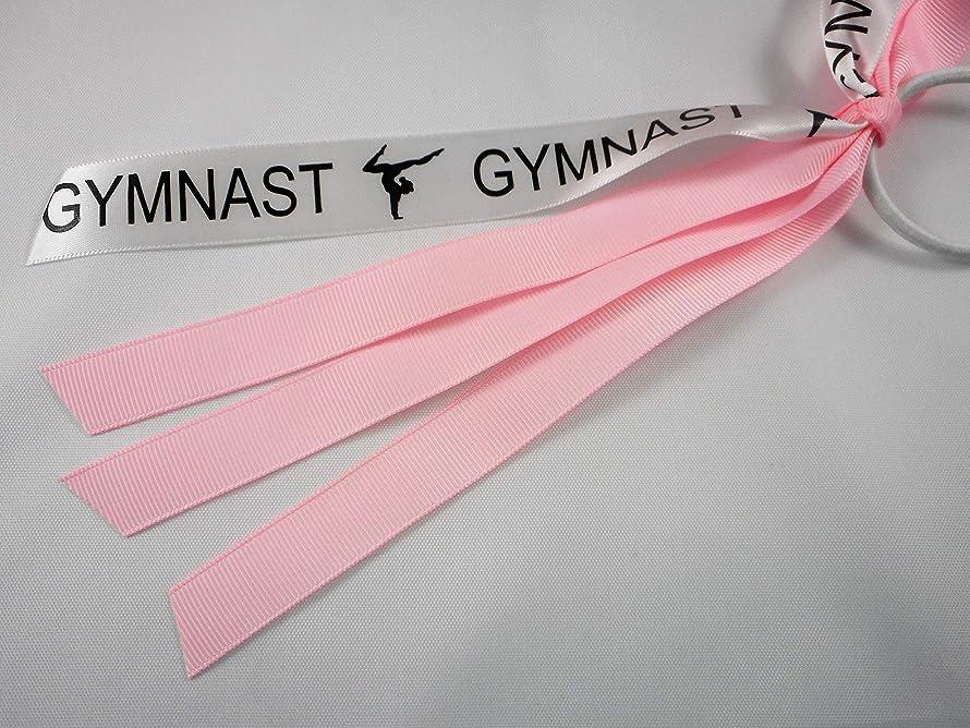 Gymnastics Ponytail Hair Tie Ribbon Streamers Light Pink
