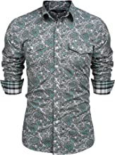 COOFANDY Men's Floral Dress Shirt Slim Fit Casual Paisley Printed Shirt Long Sleeve Button Down Shirts