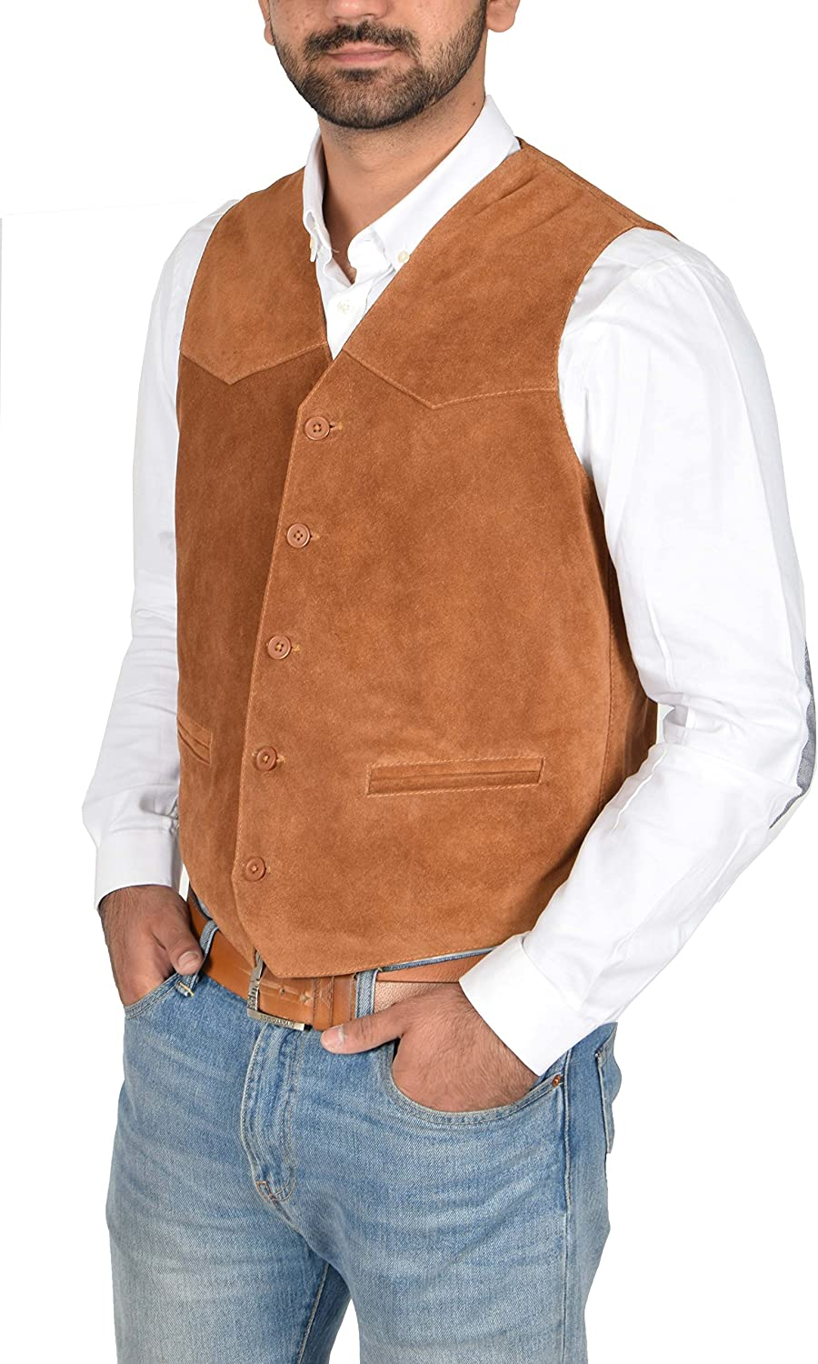 Mens Real Suede Leather Traditional Style Classic Waistcoat Vest Don Tan