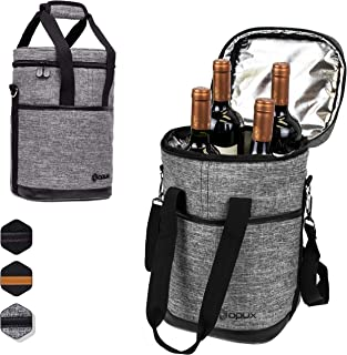 OPUX 4 Bottle Wine Cooler Bag   Wine Bottle Carrier for Travel   Wine Tote with Adjustable Shoulder Strap and Padded Protection (Heather Gray)
