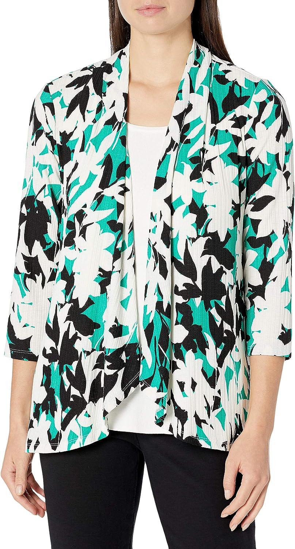 Kasper Women's Bold Floral Printed Pleat Neck Knit Cami