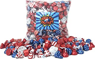 CrazyOutlet Patriotic USA Flag Colors Hershey Chocolate Candy Assortment - Kisses USA Flag, Red Foil Milk Chocolate Kisses, Reese's Peanut Butter Cup, Rolo Chewy Caramel, Bulk Pack, 3 Lbs