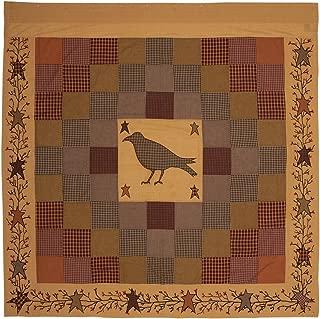 VHC Brands Primitive Bath Settlement Crow Rod Pocket Cotton Button Holes Hooks Appliqued Star Shower Curtain, 72 x 72, Burgundy Red