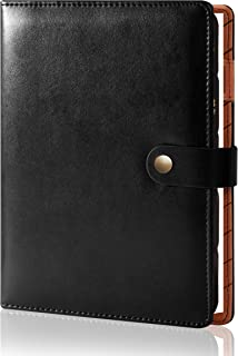 Refillable Planner A5 Binder with Pen Holder Mens 6 Rings Professional Spiral Leather Journal Diary Efficient Meeting Note... photo