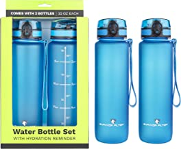 Survivor Sports Water Bottles (32oz) - 2 Bottle Set (2 Liters Total) (Note: Not a Water Filter) with Leakproof Quick-Lock Lids, Hydration Reminder and Convenient Carry Straps - BPA Free