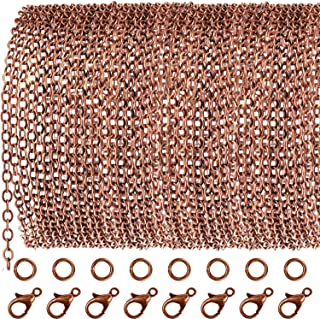TecUnite 33 Feet Antique Red Copper Chain Link Necklace with 30 Pieces Jump Rings and 20 Pieces Clasps for DIY Jewelry Making (3x4mm)