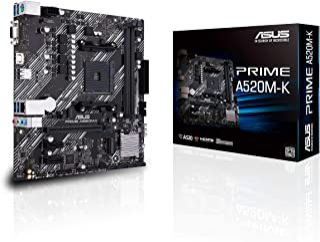 ASUS Prime A520M-K AMD AM4 (3rd Gen Ryzen) Micro-ATX Motherboard (ECC Memory, M.2 Support, 1Gb Ethernet, M.2, USB 3.2 Gen ...