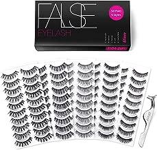 Eliace 50 Pairs 5 Styles Wispies Fake Eyelashes with Tweezers
