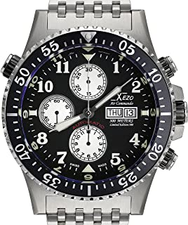 Xezo Men's Air Commando Diver, Pilot Swiss Automatic Valjoux 7750 Chronograph Wrist Watch. 2nd Time Zone. All Solid Steel. Diamond-Cut Numbers. Waterproof 30 Bars