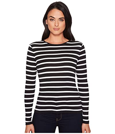 LAUREN Ralph Lauren Striped Button-Shoulder Top (Black/White) Women