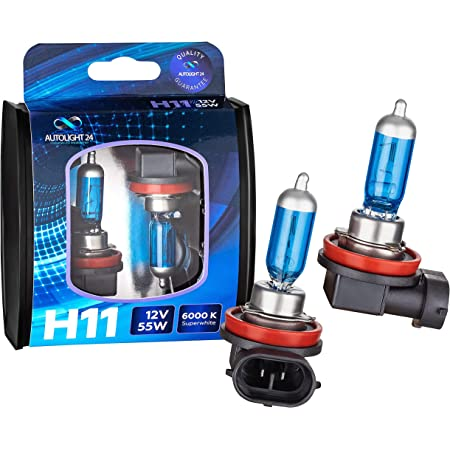 Autolight 24 I 2x H11 Xenon Look Halogen Lampen Birnen Mehr Licht Halogen Scheinwerferlampe Duo Box Super White 6000 Kelvin 12 Volt 55 Watt Auto