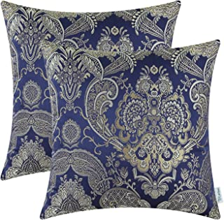 CaliTime Pack of 2 Supersoft Throw Pillow Covers Cases for Couch Sofa Home Decor Vintage Damask Floral 18 X 18 Inches Navy Blue