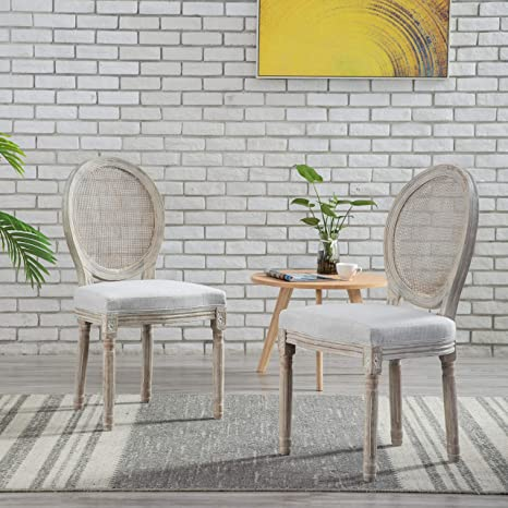 Amazon Com French Retro Dining Chairs Set Of 2 Distressed Wood Chairs With Cane Mesh Round Back Upholstered Seat Chairs For Dining Room Living Room Kitchen Beige Chairs