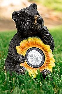 Alpine Solar Bear with Sunflower Statuary, 10 Inch Tall