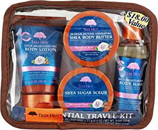 Tree Hut Essential Travel Kit, Moroccan Rose, 4 Items in One Bag, for Nourishing Essential Body Care on The Go!