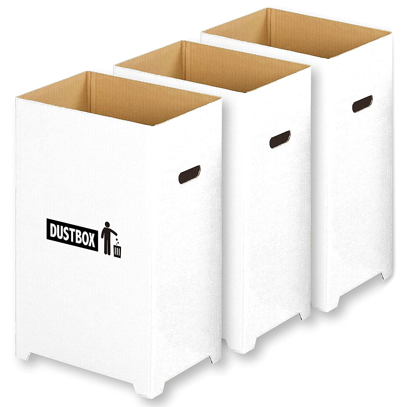 ずっと慢流行している【Amazon.co.jp限定】 撥水加工 汚れに強い おしゃれ で スリム な ダンボール ダストボックス 分別 ゴミ箱 3個組 ( 45リットル ゴミ袋 対応)