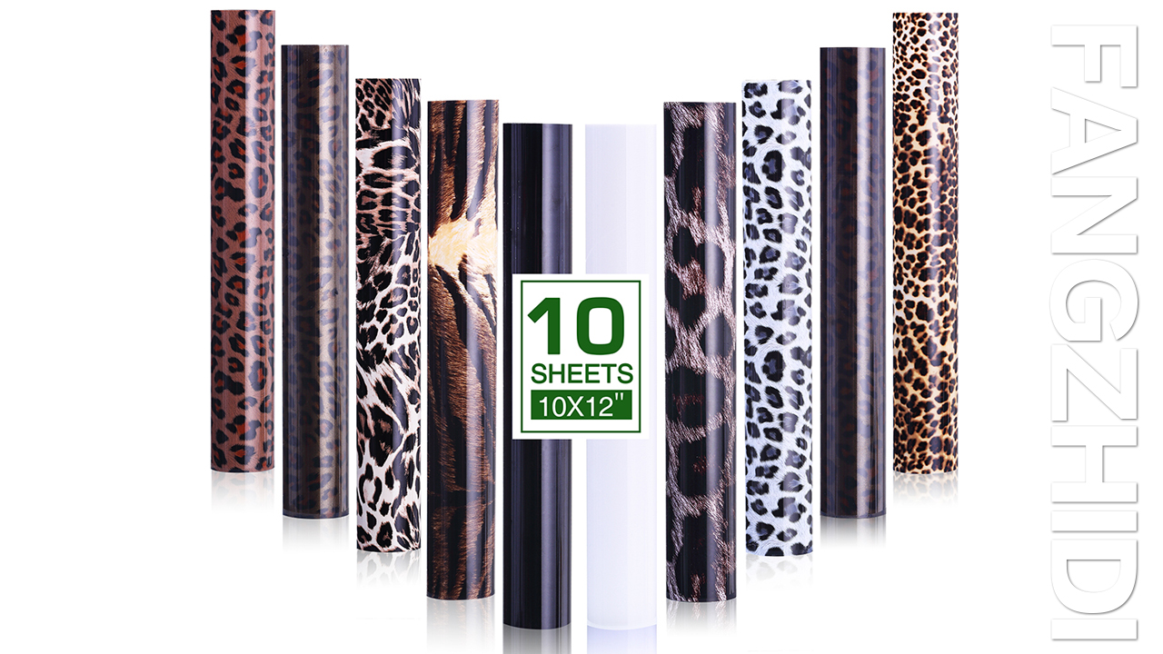 Bonus 1 Black and 1 White Sheets Easy to Cut and Weed for DIY Design Leopard Transfers HTV Heat Transfer Vinyl Bundle for T-Shirts FANGZHIDI 10in x 12in Iron-on Craft Fabric PU Vinyl