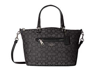 COACH Signature Prairie Satchel (SV/Black Smoke/Black1) Satchel Handbags