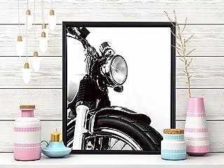 Painting Mantra- Bike Theme Art Print with Frame Black & White- 11X13 inchs