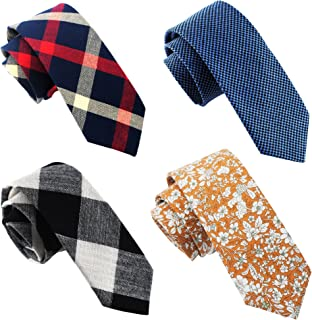 "Casual Skinny Neckties for Men 2½"" Cotton Plaid/Floral Slim Tie Pack HandMade by ZENXUS"