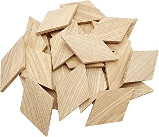 "3.45""x2"" Wood Diamond Shape Unfinished Wood Mosaic Tile - 30 pcs"