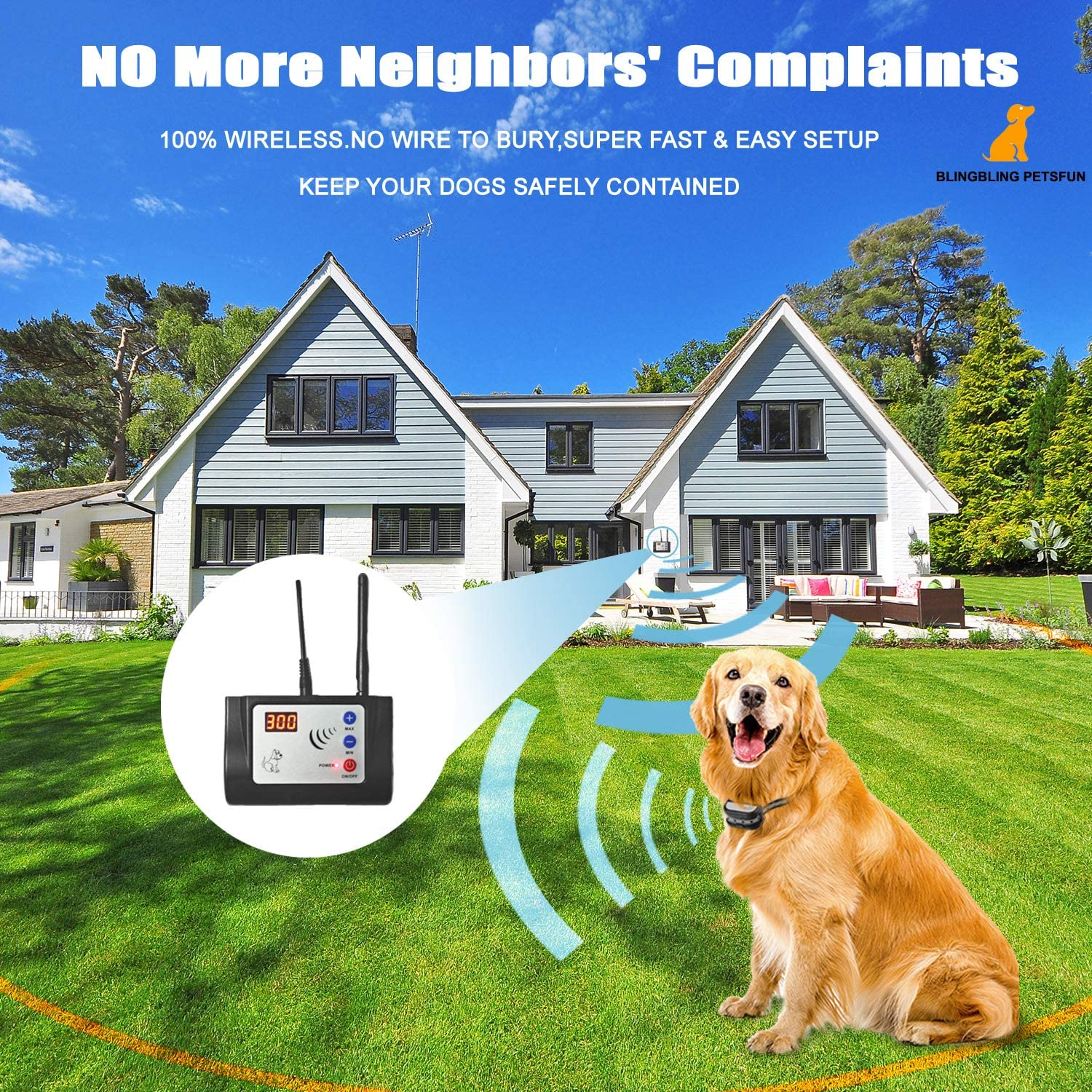 Blingbling Petsfun Electric Wireless Dog Fence System Black Pet Containment System with Waterproof and Rechargeable Training Collar Receiver for 1 Dogs Pets Container Boundary