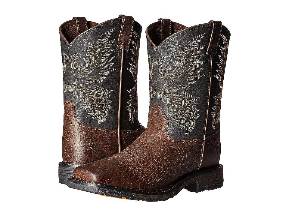 Ariat Kids Workhog Wide Square Toe (Toddler/Little Kid/Big Kid) (Bruin Brown/Black) Cowboy Boots