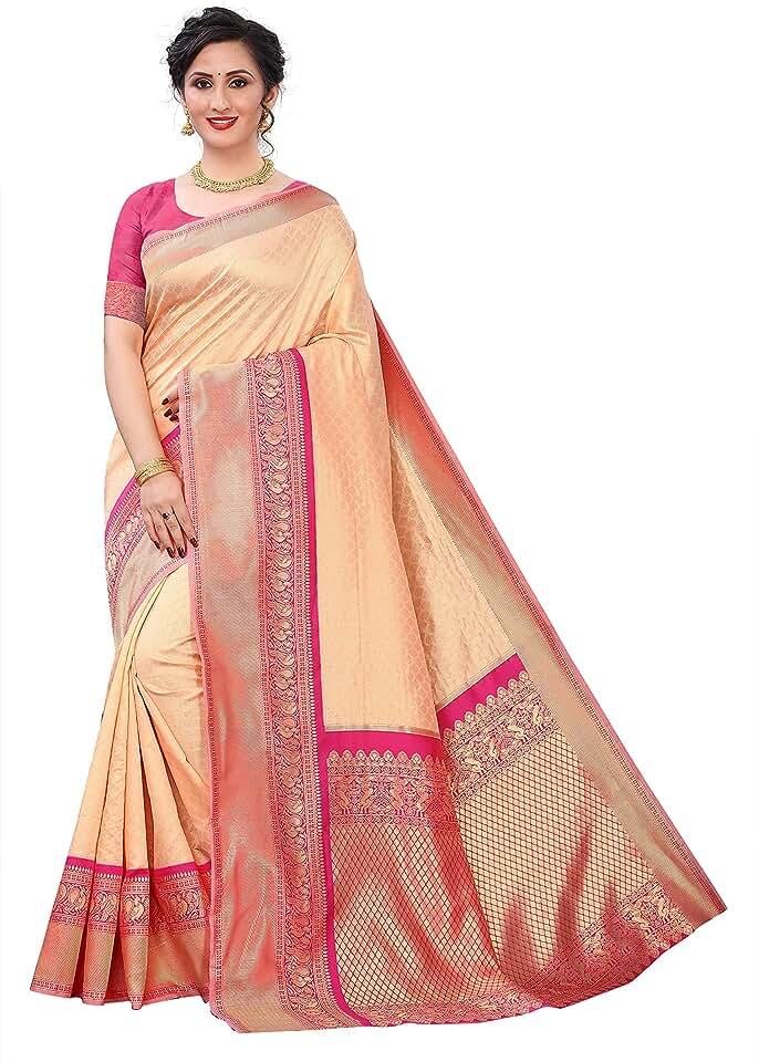 Indian KRUSHNTVASHMI CREATION Women's Kanchipuram Silk Jacquard Saree With Blouse (Peach,Pink) Saree