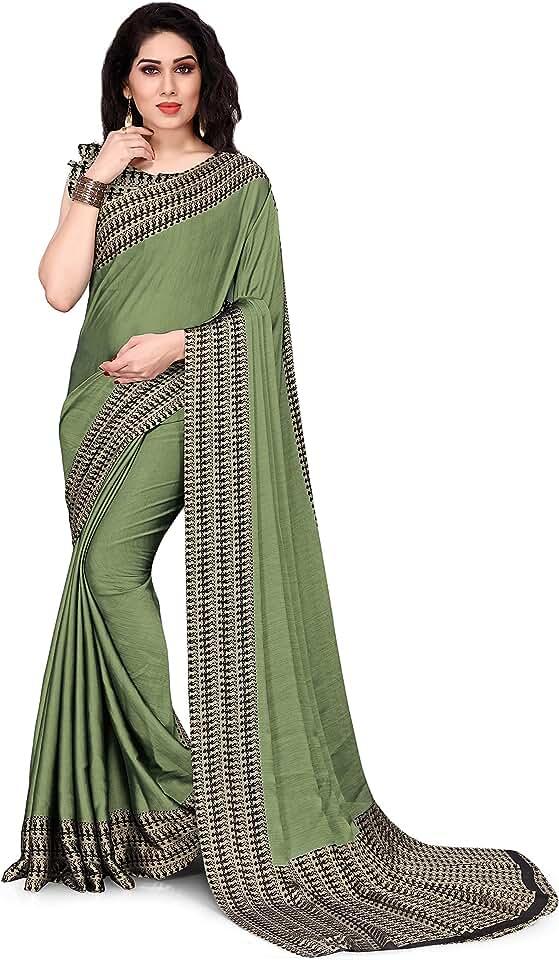 Indian SOURBH Women's Warli Pattern Printed Chiffon Saree with Blouse Piece Saree
