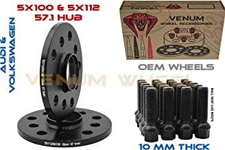 2 Pc 10mm Black Hubcentric Wheel Spacers Audi Volkswagen 5x100/5x112 57.1 Hub | Includes 10 Black Ball Seat Lug Bolts