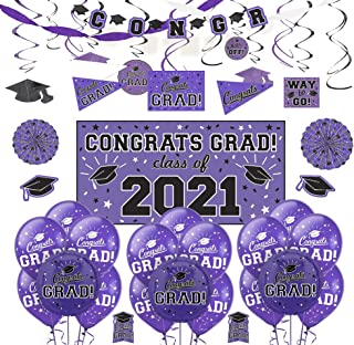 Party City Purple Congrats Grad 2021 Graduation Deluxe Decoration Supplies with Banner, Streamers, and Swirls