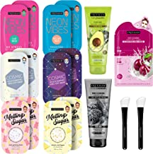 Freeman Beauty Face Masks Skincare Collection - 17 Piece Variety Pack - Peel-Off, Clay, Gel and Sheet Mask, Silicone Brush...