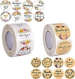 Avamie Thank You Stickers Rolls, 1000 PCS, 16 Unique Designs, 1.5 inch Diameter, Thank You Stickers Labels 2 Rolls (Floral...