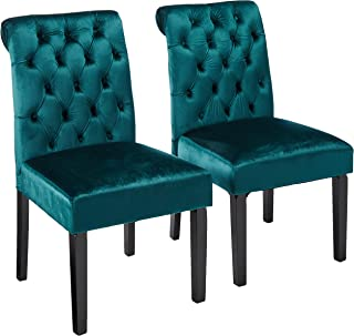 Christopher Knight Home Deanna Tufted Teal Velvet Dining Chair with Roll Top (Set of 2)