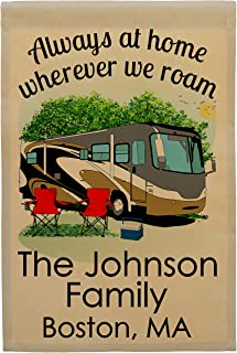Happy Camper World Always at Home Wherever We Roam Personalized Class A Motorhome Campsite Flag, Customize Your Way (Gray/Gold RV)