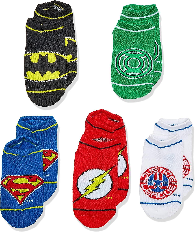 Justice League Boys 5 Pack No Show Socks