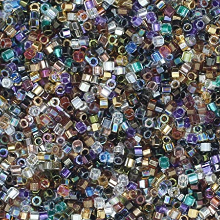 Amazon Com Miyuki Delica Hex Cut Glass Seed Beads 11 0 Colorful Super Mix Made In Japan Arts Crafts Sewing