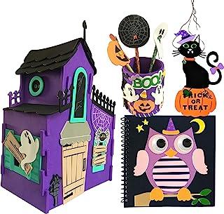 کیت هنری و صنایع دستی هالووین DIY با خانه خالی از سکنه ، چوب لباسی با ترفند یا معالجه ، مداد ، قلم تاپر و نوت بوک بچه های بچه گانه