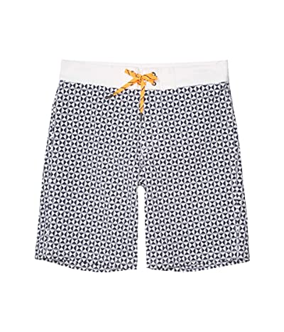 crewcuts by J.Crew Geo Print Boardshorts (Toddler/Little Kids/Big Kids) (Navy/White) Boy