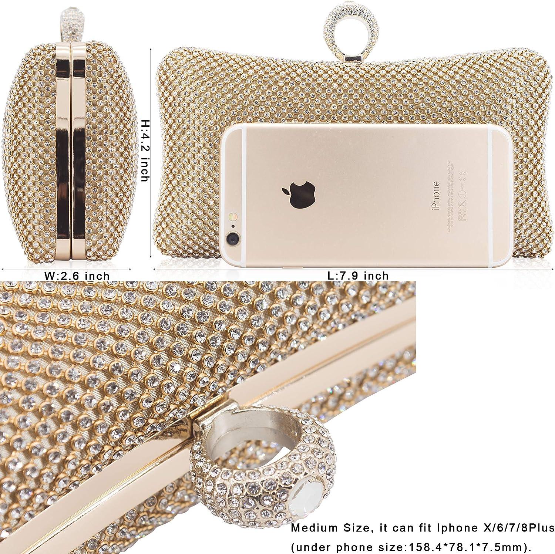 Dexmay Ring Rhinestone Crystal Clutch Purse Luxury Women Evening Bag for Bridal Wedding Party