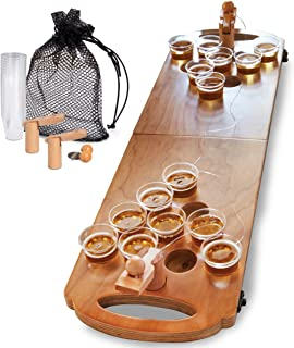 SHARPER IMAGE Mini Beer Pong Tabletop Set with Table, Cups, Balls & Carrying Case