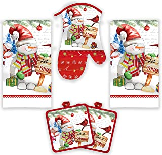 American Mills Christmas Kitchen Towel Set 5 Piece 2 Pot Holders & Towels with 1 Oven Mitt (Let It Snow)