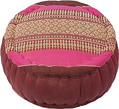 Kapok Dreams ™ Zafu Round Meditation Cushion 100%, Burgundy Pink Thai Design Pillow