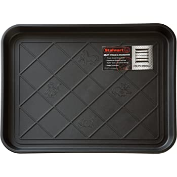 Stalwart 75-ST6013 All Weather Boot Tray-Water Resistant Plastic Utility Shoe Mat for Indoor and Outdoor Use in All Seasons (Black), Small