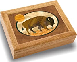 Wood Art Bison Box - Handmade USA - Unmatched Quality - Unique, No Two are The Same - Original Work of Wood Art. A Buffalo Gift, Ring, Trinket or Wood Jewelry Box (#2110 Buffalo 6x8x2)